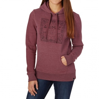 Animal ANIMAL SKETCHED HOODIE BORDEAUX RED MARL