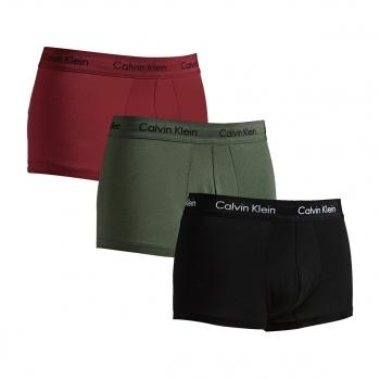 Calvin Klein CALVIN KLEIN COTTON STRETCH 3 PACK BOXERS BLACK/ DYLAN RED/ HUNTSMAN
