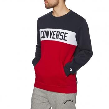 Converse CONVERSE COLOURBLOCK CREW SWEATSHIRT DARK OBSIDIAN/ ENAMEL RED