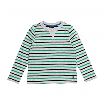 Joules JOULES BRETON LONG SLEEVED T-SHIRT GREY MARL MULTI STRIPE