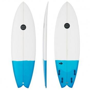 Maluku MALUKU QUAD FISH SURFBOARD  WHITE / BLUE TAIL DIP