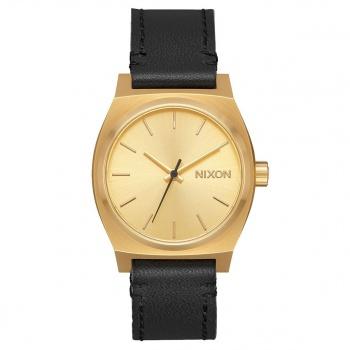 Nixon NIXON MEDIUM TIME TELLER LEATHER WATCH GOLD / BLACK