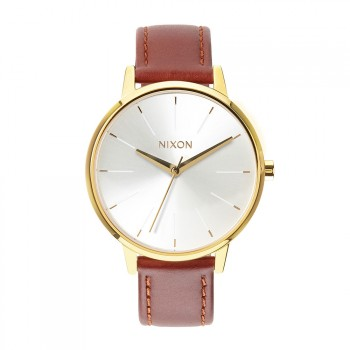 Nixon Nixon The Kensington Leather Watch Gold/Saddle