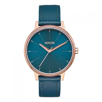Nixon Nixon The Kensington Leather Watch Rose Gold/Teal