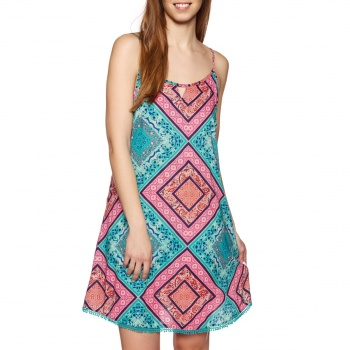 O'Neill O'NEILL ROSEBOWL DRESS GREEN AOP W/ PINK-PURPLE