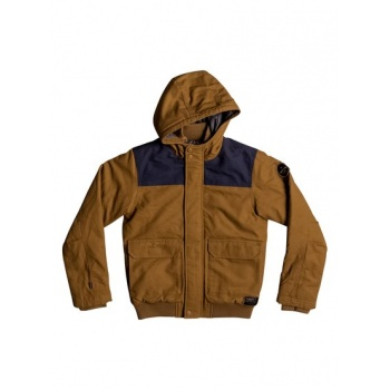 Quiksilver QUIKSILVER BROOKS ISLAND DWR-WATER-REPELLENT HOODED BOMBER JACKET FOR BOYS 8-16-BROWN