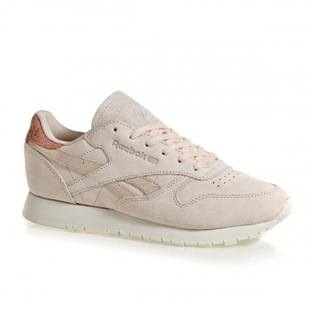 Reebok REEBOK CLASSIC LEATHER SHIMMER TRAINERS PALE PINK / MATTE SILVER / CHALK