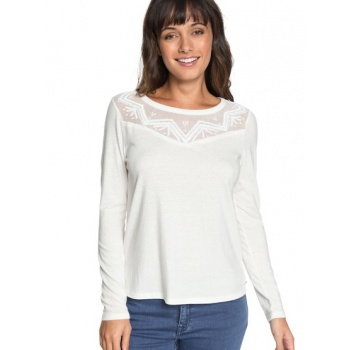 Roxy ROXY BLOSSOM DAY-LONG SLEEVE TOP FOR WOMEN-WHITE