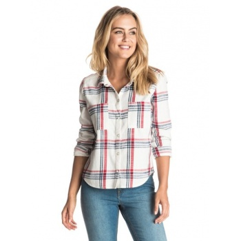 Roxy ROXY PLAID PARTY-LONG SLEEVE SHIRT FOR WOMEN-WHITE