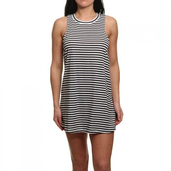 Roxy Roxy Shiny Tee Dress Bright White Stripe