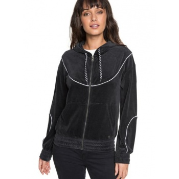 Roxy ROXY SMOULDERING FLAME-VELOUR ZIP-UP HOODIE FOR WOMEN-BLACK