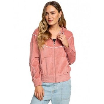 Roxy ROXY SMOULDERING FLAME-VELOUR ZIP-UP HOODIE FOR WOMEN-PINK