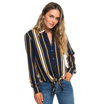 Roxy ROXY SUBURB VIBES-LONG SLEEVE TIE-FRONT SHIRT FOR WOMEN-BLUE