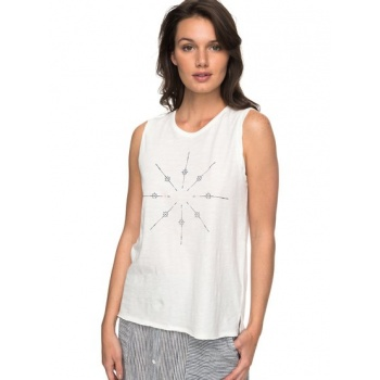 Roxy ROXY TIME FOR AN OTHER YEAR-SLEEVELESS T-SHIRT FOR WOMEN-WHITE