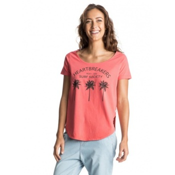 Roxy ROXY TULIP SIDE WASHED THIRD PALM-T-SHIRT FOR WOMEN-PINK