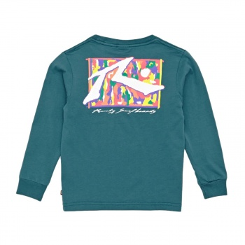 Rusty RUSTY SPLATZ LONG SLEEVE T-SHIRT WASHED SEA GREEN