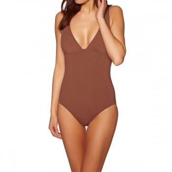Seafolly SEAFOLLY ACTIVE V NECK MAILLOT SWIMSUIT BURNTAMBER