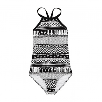 Seafolly SEAFOLLY JUNGLE GEO HIGH NECK SWIMSUIT BLACK/WHITE