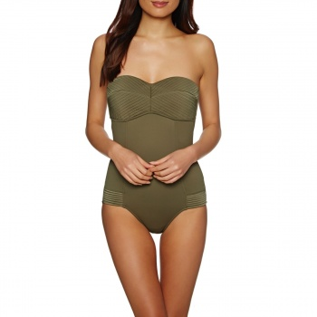 Seafolly SEAFOLLY QUILTED BANDEAU MAILLOT SWIMSUIT DARK OLIVE