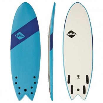 Softech SOFTECH HANDSHAPED ORIGINAL FCSII QUAD SHORTBOARD SURFBOARD BLUE