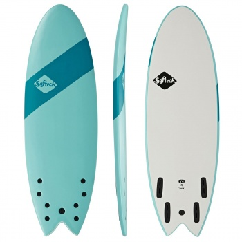 Softech SOFTECH HANDSHAPED ORIGINAL FCSII QUAD SHORTBOARD SURFBOARD SOFT SKY