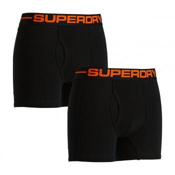 Superdry SUPERDRY SPORT PACK OF TWO BOXERS BLACK/BLACK/ORANGE