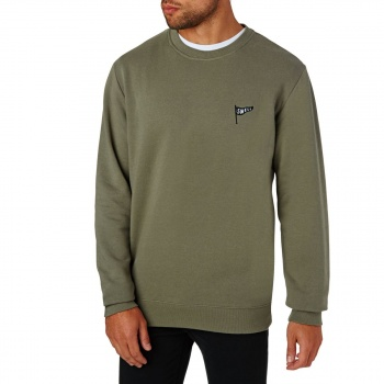 Swell SWELL FLOATING CREW SWEATSHIRT WASHED OLIVE