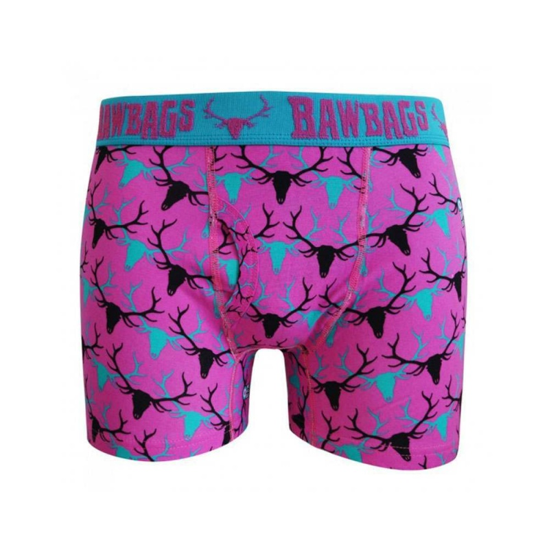 Bawbags Stag Boxers Blue/Pink
