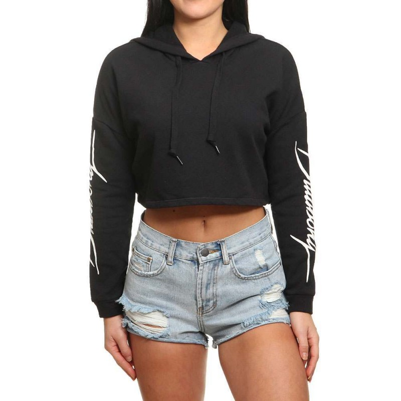 Billabong Worn Out Cropped Hoody Off Black