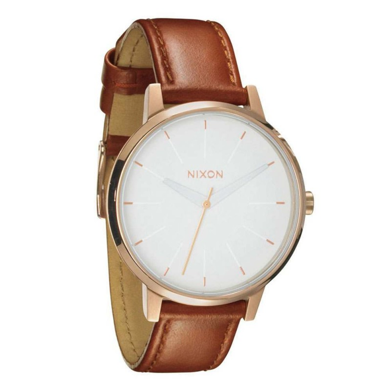 NIXON THE KENSINGTON LEATHER WATCH Rose Gold/White
