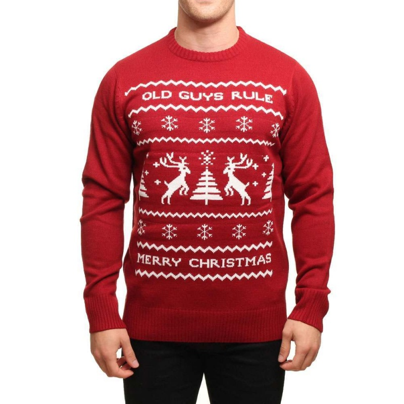Old Guys Rule X-Mas Jumper Burgundy