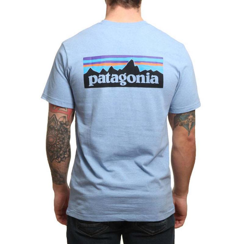 Patagonia P6 Logo Pocket Tee Railroad Blue