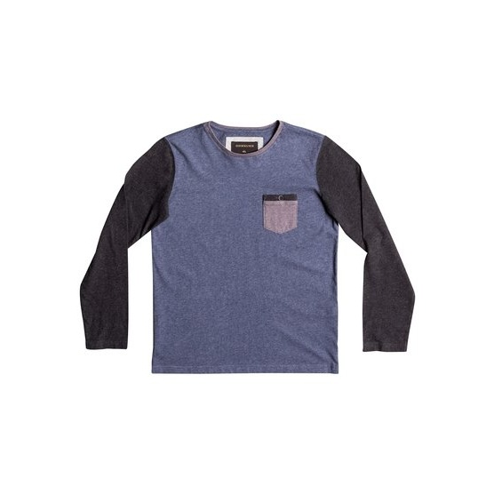QUIKSILVER BAYSIC-LONG SLEEVE T-SHIRT FOR BOYS 8-16-BLUE