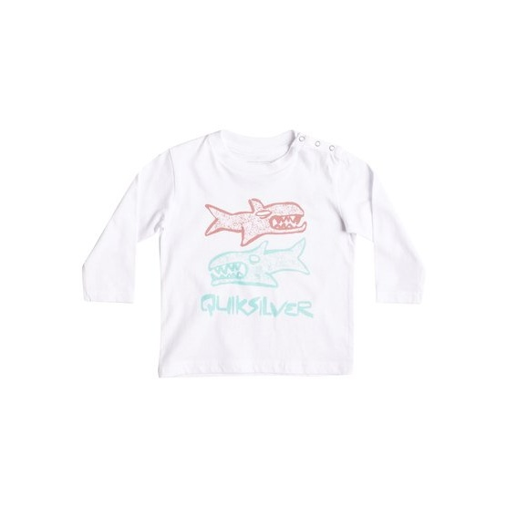 QUIKSILVER CLASSIC DOUBLE FISH-LONG SLEEVE T-SHIRT FOR BABY BOYS-WHITE