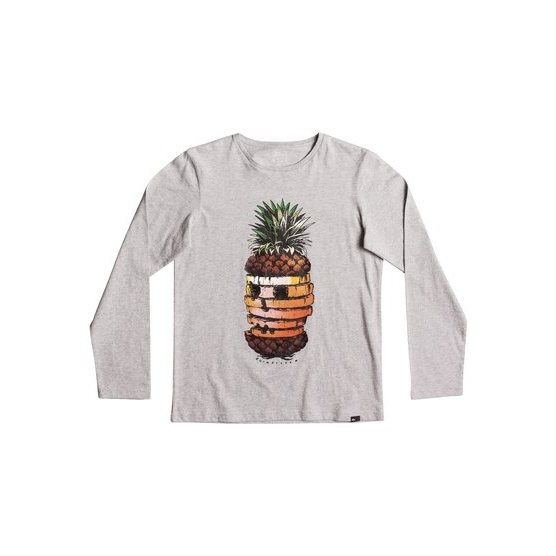 QUIKSILVER CLASSIC HOT PINEAPPLE-LONG SLEEVE T-SHIRT FOR BOYS 8-16-GREY