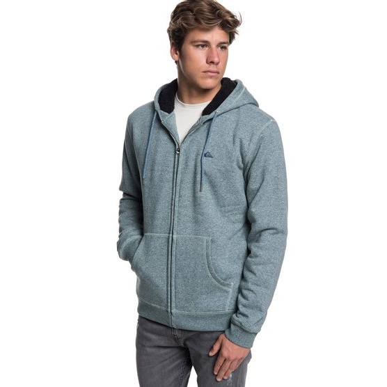 QUIKSILVER EVERYDAY-ZIP-UP SHERPA LINED HOODIE FOR MEN-BLUE