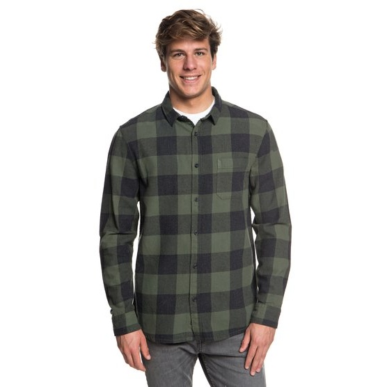 QUIKSILVER MOTHERFLY FLANNEL-LONG SLEEVE SHIRT FOR MEN-BROWN