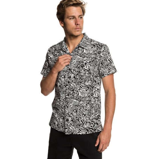 QUIKSILVER THE CAMP-SHORT SLEEVE SHIRT FOR MEN-BLACK