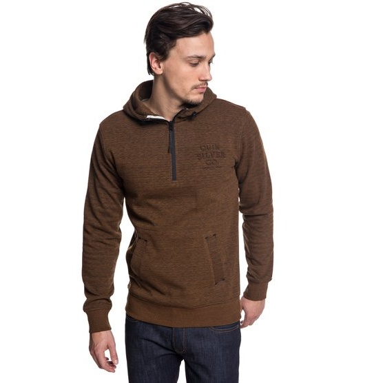 QUIKSILVER YATTEMI-TECHNICAL HALF-ZIP HOODIE FOR MEN-BROWN