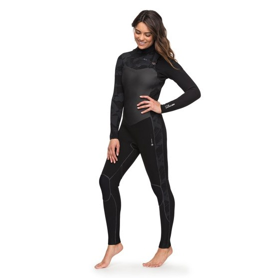Roxy 4 3mm Performance-chest Zip Wetsuit For Women-black f528e9642286