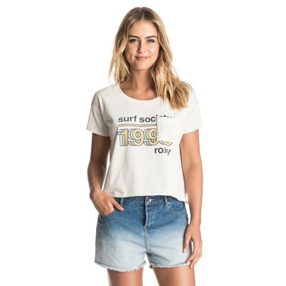 ROXY BABY TACOS SURF SOCIETY-CROPPED T-SHIRT FOR WOMEN-WHITE