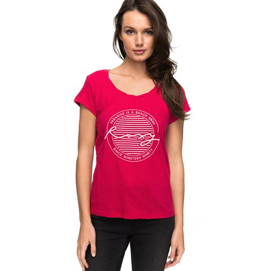 ROXY BOBBY TWIST PARADISE-T-SHIRT FOR WOMEN-PINK