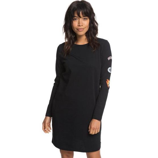 ROXY BOYISH LOOK-LONG SLEEVE T-SHIRT DRESS FOR WOMEN-BLACK