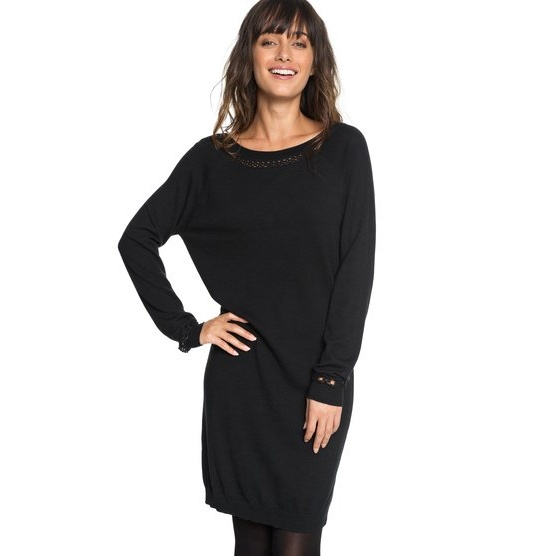 ROXY EXPRESSION OF NATURE-LONG SLEEVE DRESS FOR WOMEN-BLACK
