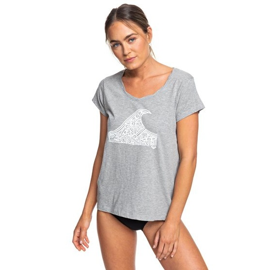 ROXY KEEP A BREAST A-T-SHIRT FOR WOMEN-GREY