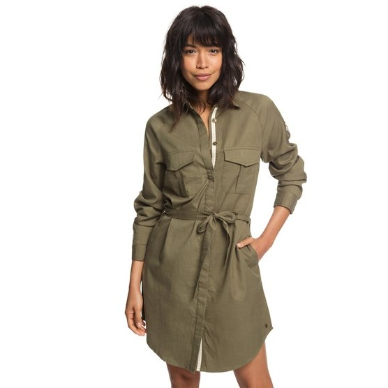 ROXY KHAKI SPHERE-LONG SLEEVE SHIRT DRESS FOR WOMEN-GREEN