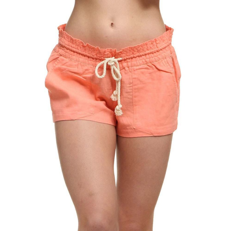 Roxy Oceanside Linen Shorts Lady Pink