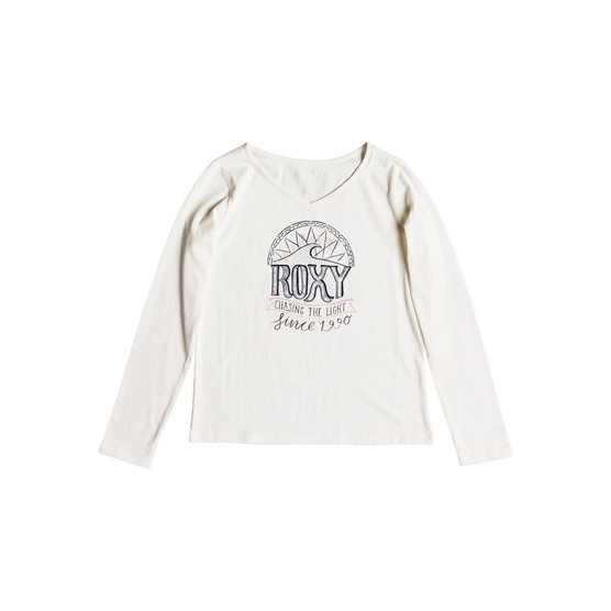ROXY SAY SOMETHING-LONG SLEEVE TOP FOR GIRLS 8-16-WHITE