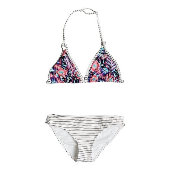 ROXY SURFING MIAMI-TIKI TRI BIKINI SET FOR GIRLS 8-16-BLACK