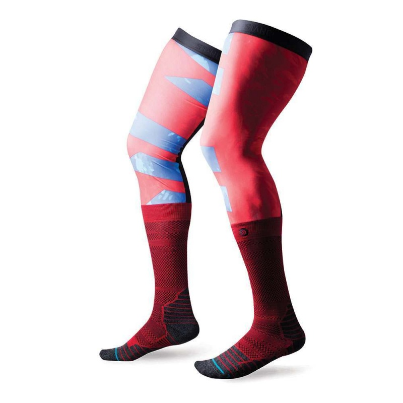 Stance Moto Flyer Knee Brace Socks Red